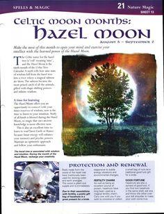 Celtic Moon Months: Hazel Moon
