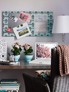 Home Office Storage on a Dime: Take Note Don't spend money on a corkboard -- instead turn an artist's canvas into a practical memo board. For a magnetic surface, attach a sheet-metal square. Hang it above your desk to keep important items visible. Cheap Home Office, Home Office Storage, Home Office Organization, Office Decor, Office Ideas, Organized Office, Organization Ideas, Office Nook, Office Designs