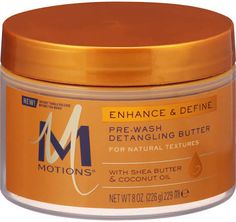 Motions Enhance & Define Pre-Wash Detangling Melts into each hair strand providing deep penetrating moisture and instant tangle release. Infused with Shea Butter, Coconut and Avocado Oils, this ultra-moisturizing butter smoothes over each strand to provide the ideal slip and softness to promote less hair breakage. Before wetting hair, massage a generous amount into dry hair. Gently comb through with a wide-tooth comb, starting at ends and working towards roots to detangle hair.