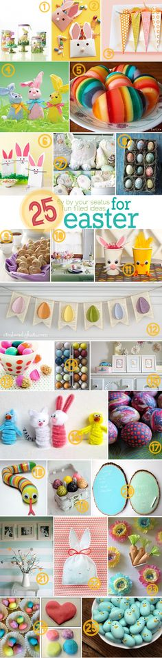 25 great Easter projects. I especially love #5. Anyone have that hello mold that I can borrow? I'll make you some rainbow eggs! :)