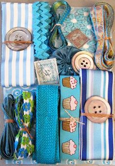 Product Details - Nifty Thrifty Dry Goods: Crazy Quilt Embellishment Assortment - Turquoise, Crazy Quilt Assortments, CQEA-turq