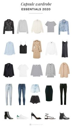 minimalist fashion A capsule wardrobe is a minimalistic wardrobe that contains around 20 up to 40 pieces. Be inspired by our 2020 Capsule wardrobe essentials list. Capsule Wardrobe Essentials, Capsule Wardrobe Women, French Capsule Wardrobe, Capsule Outfits, Fashion Capsule, Mode Outfits, New Wardrobe, Staple Wardrobe Pieces, Capsule Clothing