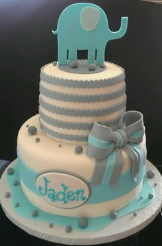 baby shower elephant cake | Baby boy shower cake elephant | Cupcakes cakes candy etc