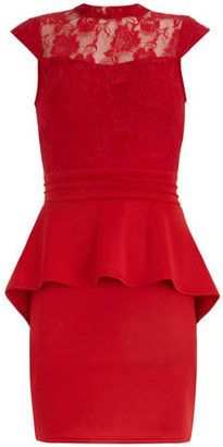 ShopStyle: Dorothy PerkinsRed jersey and lace peplum