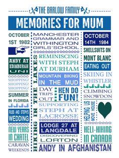 Personalised Memory Print  Birthday Anniversary by NoRegretsDesign, £39.99