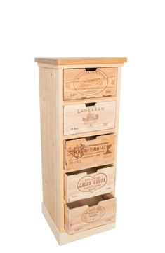 Handmade rustic wine box chest of drawers Crate Desk, Crate Shelves, Crate Furniture, Wooden Wine Crates, Old Crates, Wine Bottle Chandelier, Crate Crafts, Record Storage, Tv Storage
