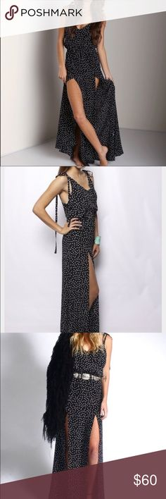 Polka dot dress Two slit navy maxi dress Stone Cold Fox Dresses Maxi