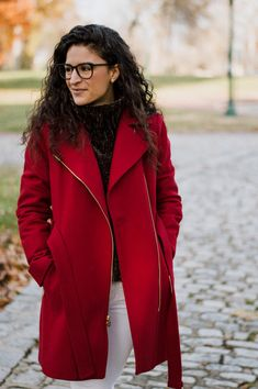 The Tailored Olive- Red winter jacket-Micheal Kors Fashion Photo, Personal Style, Winter Fashion, Winter Jackets, Leather Jacket, Lifestyle, My Style, Womens Fashion, Red