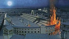 """Reconstruction of the outbreak of the fire that devastated Rome in July of 64 AD It recognizes the Circus Maximus, which at the curved side, according to the testimony of the historian Tacitus, he would just turn on the first outbreak"""