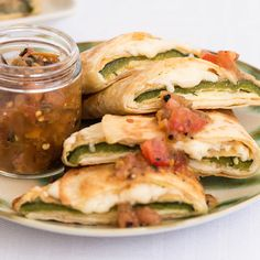 Chile Relleno Quesadilla - Discover quesadilla recipes for any occasion at Mexican Dishes, Mexican Food Recipes, New Recipes, Vegetarian Recipes, Cooking Recipes, Healthy Recipes, Mexican Desserts, Cheap Recipes, Freezer Recipes