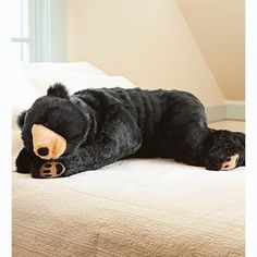 Black Bear Animal Giant Plush Stuffed Body Hug Pillow for Kids Teens Adults Soft Dense Fur Beaded Eyes Weighted Paws Bed Accessories Toys Cuddly Critters Bedroom Decor 4 Feet Long We Bear, Bear Cubs, Grizzly Bears, Tiger Cubs, Tiger Tiger, Bengal Tiger, Black Bear Decor, Hug Pillow, Knot Pillow
