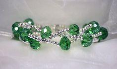 Bracciale a 3 fili con cristalli sfaccettati verde di JanasBijoux