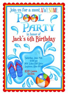 Pool+Party+Invitations+Personalized+by+LittlebeaneBoutique+on+Etsy,+$1.59