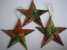 Origami Christmas Ornaments With Gold Color Ropes