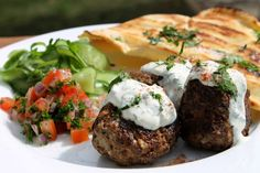 Four Kitchen Decorating Suggestions Which Can Be Cheap And Simple To Carry Out Lebanese Style Meatballs Recipe With Grilled Flatbreads And Yogurt Dressing - Chelseawinter. Beef Recipes For Dinner, Lamb Recipes, Meatball Recipes, Greek Recipes, Meat Recipes, Cooking Recipes, Healthy Recipes, Grilled Flatbread, Lebanese Recipes