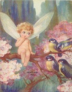 Little Girl Fairy in Strawberries by Steve Read Russian Modern Postcard