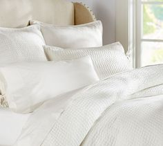 Pick-Stitch Quilt & Sham | Pottery Barn quilt/coverlet in white KING-SIZE + pair of white shams or white pillowcases