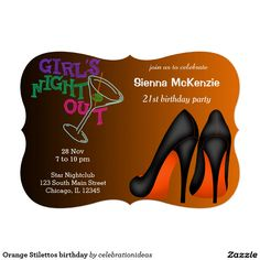 Sold #Orange #Stilettos #birthday #Invitation #bachelorette #girlsnightout Available in different products. Check more at www.zazzle.com/celebrationideas