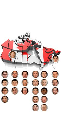 THE BOYS. Team Canada's Sochi Olympics roster by province. More from Manitoba than Alberta. Interesting!