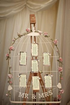 Could pin Bible verses instead of poems. Wedding Table Plan, Birdcage, Shabby Chic / Vintage, With Heart Pegs Wedding Props, Wedding Themes, Chic Wedding, Wedding Table, Rustic Wedding, Our Wedding, Dream Wedding, Birdcage Wedding, Wedding Vintage