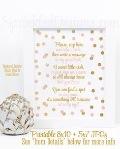 Baby Shower Guest Book Sign - Blush Pink Gold Glitter Party - 8x10 and 5X7 Printable Birthday Party Welcome Sign - Big One Instant Download