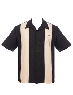 Three Star Panel Mens Button Up Black and Cream from Steady Clothing has arrived. This 50s style Lounge Shirt is a double panel button up shirt in Black and Cream. Two tone, double panel retro star embroidered button up features three star embroideries on one of the contrast color panels. Made of 100% Polyester microfiber. Made in the USA.