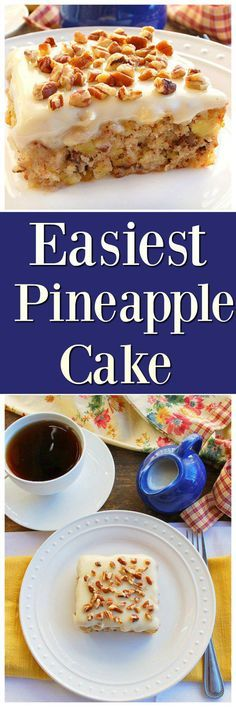 A delicious one bowl pineapple cake topped with a cream cheese frosting while it's still hot.  This Easiest Pineapple Cake is a one bowl wonder!