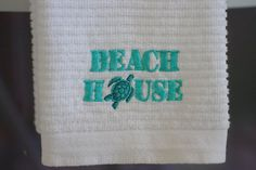Beach House #Embroidered Kitchen Towel.