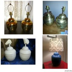 Spray painted brass lamps, lamps from old house, sand paper, prime, glossy paint (all from Lowes), shade on clearance at Target. Glossy Paint, Paint Brass, Sand Paper, Painting Lamps, Residential Lighting, Brass Lamp, Lowes, Home Projects, Target