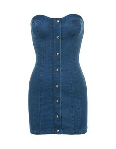 'Sweetly' is made in soft stretch denim, this strapless mini dress is just perfect for summer nights. Featuring a strapless cut, shorter length and gold poppers to the front. Kpop Fashion Outfits, Stage Outfits, Denim Fashion, Cute Dresses, Casual Dresses, Denim Bodycon Dresses, Short Dresses, Classy Outfits, Cute Outfits