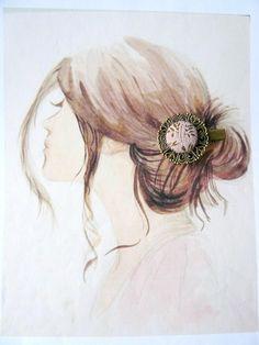 Barrette Pince Crocodile Métal Bronze, Tissu Shaby Vieux Rose,Style Bohême Romantique : Accessoires coiffure par maj