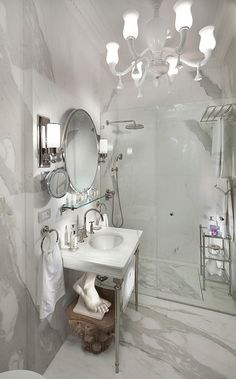 Guest powder rm in White Marble Bathroom