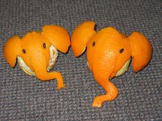 These Sculptures Made of Oranges Will Make Your Day - Happy Orange Peel Guy Vegetable Animals, Fruit Animals, Orange Fish, Orange Peel, Orange Art, Funny Rats, Fruit Dips, Food Art For Kids, Creative Food Art