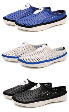 Men Hollow Out Breathable Backless Shoes Slip On Light Beach Shoes