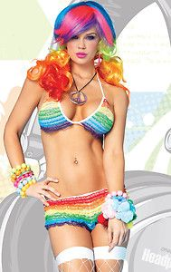 Leg Avenue Rainbow Ruffle Bikini Set Rave Wear Burning Man Exotic Dance Wear  Hunger Games   ---   http://www.amazon.com/gp/product/B009DW5DQC?ie=UTF8=A1JZHG9III7SDE=GANDALF%20THE%20GRAYZZ%20BOOKSTORE  --