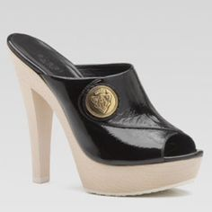 """Gucci Black Patent Leather Hysteria Clog 9.5/39.5 Gucci Hysteria Black Patent Leather & Wood Clogs. Open toe platform slide. 4 1/10"""" heel. Perfect Condition. Worn once for a photo shoot.  No box but does include dust cover. 9 1/2/39.5 NWT Gucci Shoes"""