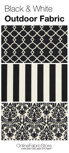 Black and white outdoor fabric including damask, striped and quatrefoil designs