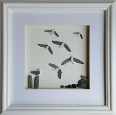 Sea Glass Seagulls Pebble Art Picture Coastal Wall Decor