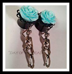 Hangman and rose dangle plugs or earrings by RockNBetties on Etsy, $30.00