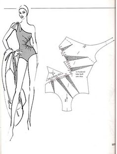Bañador asimetrico.Patrón.Swimsuits ,patterns instructions