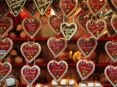 Gingerbread hearts at Christkindlmarket in Vienna, Austria Vienna Christmas, Christmas In Germany, German Christmas Markets, Christmas Markets Europe, Christmas Music, Christmas Themes, White Christmas, Christmas Cookies, Xmas