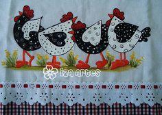 pano de prato - galinhas