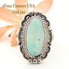 Four Corners USA Online - Size 8 3/4 Dry Creek Turquoise Elongated Stone Ring Nita Edsitty Navajo Sterling Silver Jewelry NAR-1525, $132.00 (http://stores.fourcornersusaonline.com/size-8-3-4-dry-creek-turquoise-elongated-stone-ring-nita-edsitty-navajo-sterling-silver-jewelry-nar-1525/)