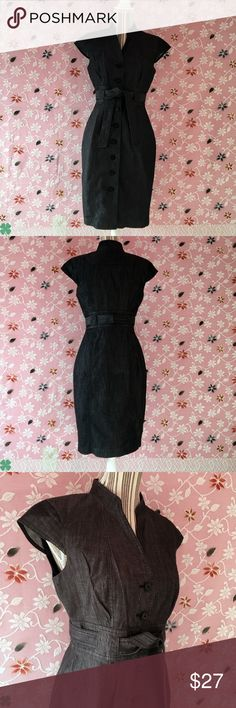 Calvin Klein's Women's Denim Dress With Belt Calvin Klein's Charcoal Black Denim Dress Cap sleeves With Belt In Excellent Condition   Approximate Measurements in picture 7 Calvin Klein Dresses Midi