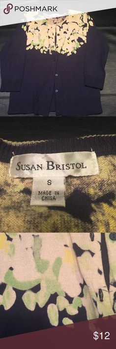 Size S navy yellow and green button down cardigan Susan Bristol button down cardigan. 3/4 length sleeves. Susan Bristol Sweaters Cardigans