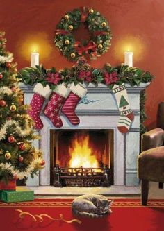 9 Luminous Tips AND Tricks: Concrete Fireplace Family Rooms mobile home fireplace remodel.Fireplace Insert Watches brick fireplace with tv above. Christmas Scenery, Christmas Mood, Christmas Cats, Christmas Pictures, All Things Christmas, Christmas Themes, Handmade Christmas, Vintage Christmas, Holiday