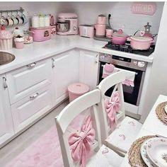 Pink Kitchen Decor, Pastel Kitchen, Shabby Chic Kitchen, Shabby Chic Homes, Shabby Chic Decor, Pastel Room, Pastel House, Kids Play Kitchen, Cute Kitchen
