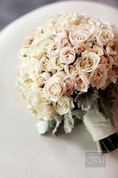 Pretty Wedding Bouquet Featuring: Cream + Blush Tea Roses & Dusty Miller