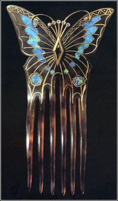 1901 butterfly hair comb by mucha