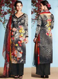 Black Printed Satin Georgette Designer Casual Pakistani Palazzo Suit         #Anarkali #Churidar #Pakistani #Suit #Salwar #Bollywood       http://www.angelnx.com/Salwar-Kameez